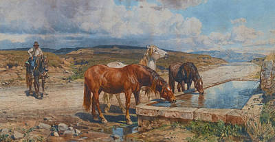 Horses Drinking From A Stone Trough Poster by Enrico Coleman