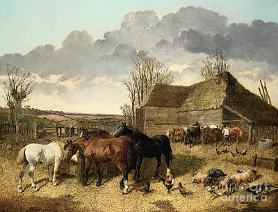 Horses Eating From A Manger, With Pigs And Chickens In A Farmyard Poster