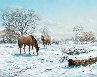 Poster featuring the digital art Horses In Countryside Snow by Martin Davey