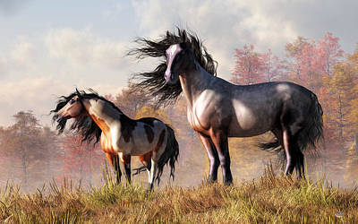 Poster featuring the digital art Horses In Fall by Daniel Eskridge