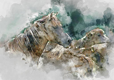 Horses Mare And Foal Watercolor Portrait 2  - By Diana Van Poster