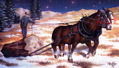 Horses Pulling Log Poster