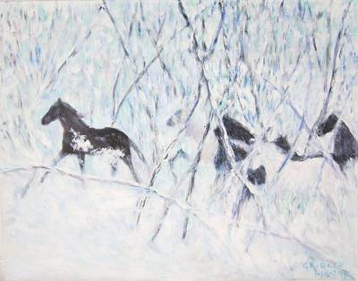 Horses Running In Ice And Snow Poster
