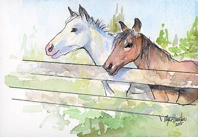 Horses Watercolor Sketch Poster by Olga Shvartsur