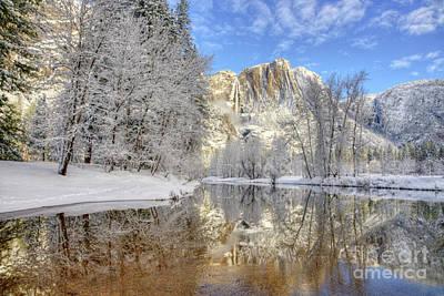 Horsetail Fall Reflections Winter Yosemite National Park Poster