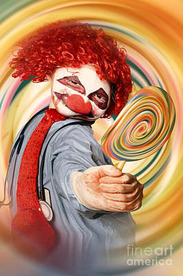 Hospital Clown Offering Psychedelic Lolly Hypnosis Poster