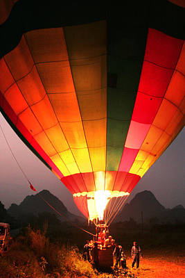 Hot Air Ballon At Dawn Poster