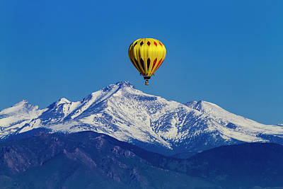 Hot Air Balloon Above The Rockies Poster by Teri Virbickis