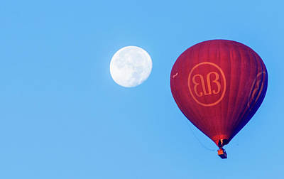 Poster featuring the photograph Hot Air Balloon And Moon by Pradeep Raja Prints