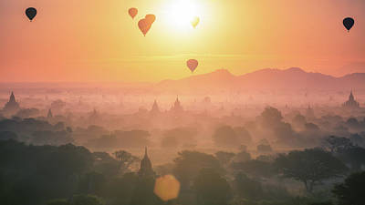 Hot Air Balloon Over Plain And Pagoda Of Bagan In Misty Morning Poster by Anek Suwannaphoom
