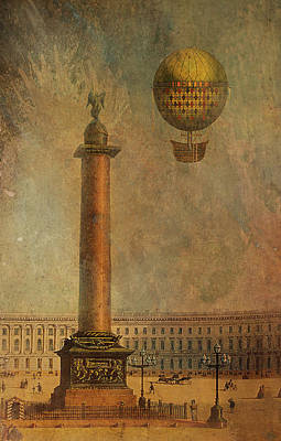 Poster featuring the digital art Hot Air Balloon Over St Petersburg And The Hermitage by Jeff Burgess