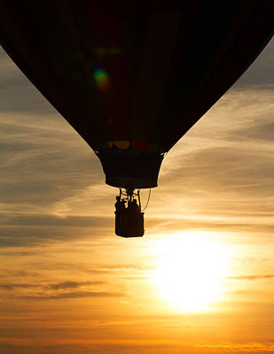 Hot Air Balloon Sunset Silhouette Poster