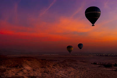 Hot Air Balloons Over Egypt's Valley Of The Kings At Sunrise Poster by Mark E Tisdale