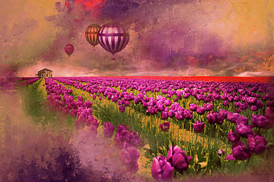 Hot Air Balloons Over Tulip Fields Poster by Jeff Burgess