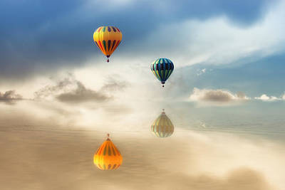 Hot Air Balloons Water Reflections Poster