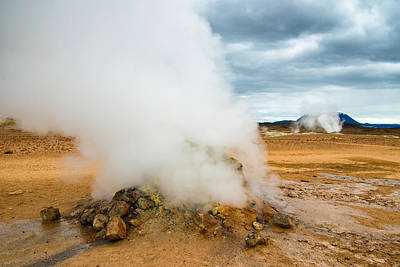 Hot And Steamy Fumarole In Namafjall Iceland Poster