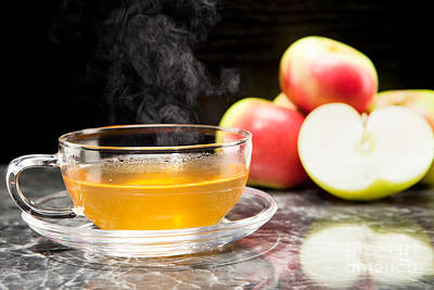 Hot Apple Tea With Fresh Apples Poster by Wolfgang Steiner