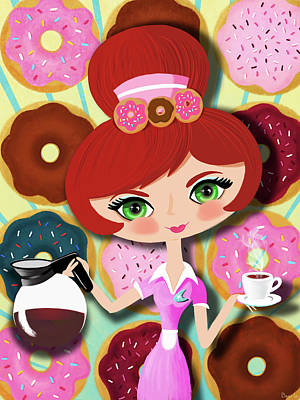 Hot Coffee And Fresh Donuts Poster by Little Bunny Sunshine