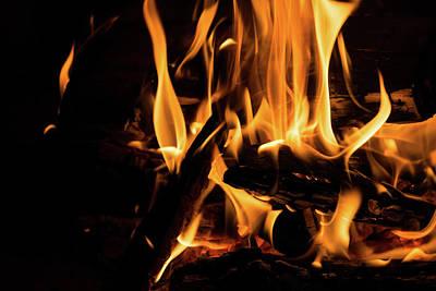 Hot - Crackling Blaze In A Fireplace Poster by Georgia Mizuleva
