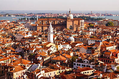 Hot Hazy And Wonderful - The Red Roofs Of Venice Italy Poster