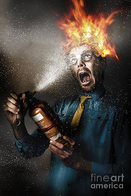 Hot Headed Nerd Businessman Playing With Fire Poster
