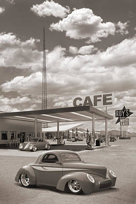 Hot Rods At Roy's Gas Station Sepia Poster by Mike McGlothlen