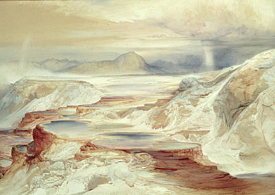 Hot Springs Of Gardiner's River, Yellowstone Poster by Thomas Moran