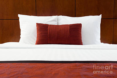 Hotel Room Bed And Pillows Poster by Paul Velgos