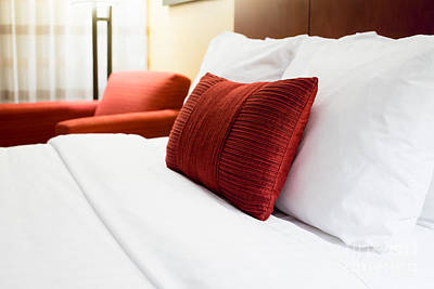 Hotel Room Bed Pillows Poster by Paul Velgos