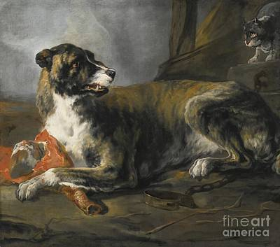 Hound With A Joint Of Meat And A Cat Looking On Poster by Celestial Images
