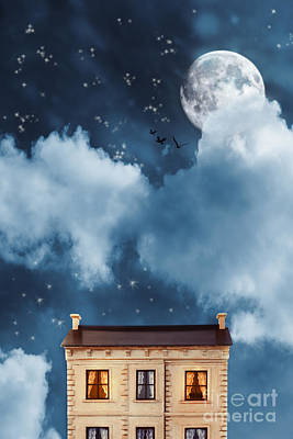 House At Night With Moon And Stars Poster by Amanda Elwell
