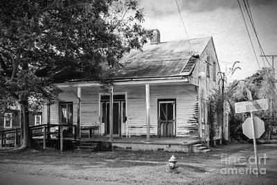 House On Chetimaches St. Bw Digital Art Poster by Kathleen K Parker