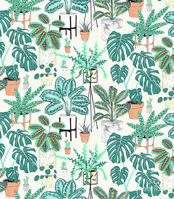 House Plants Teal Poster by Jacqueline Colley