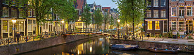 Houses Along Canal At Dusk Poster by Panoramic Images