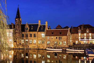 Poster featuring the photograph Houses By A Canal - Bruges, Belgium by Barry O Carroll