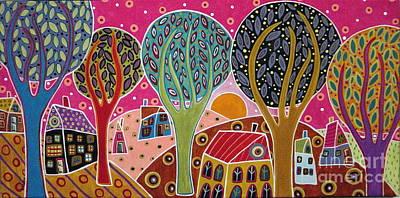 Houses Trees Whimsical Landscape Poster
