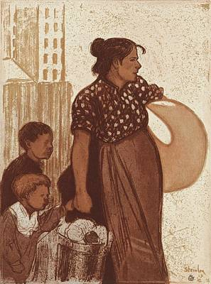 Housewife And Children Returning From The Laundry House Poster by Theophile Alexandre Steinlen