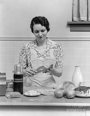 Housewife Preparing Lunch Box, C.1930s Poster