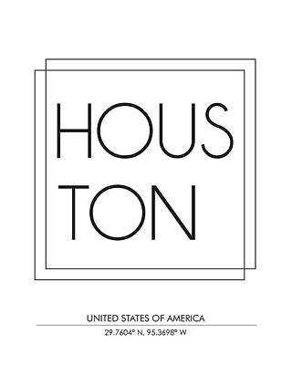 Houston, United States Of America - City Name Typography - Minimalist City Posters Poster