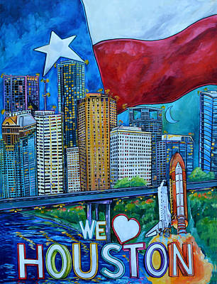 Poster featuring the painting Houston Montage by Patti Schermerhorn
