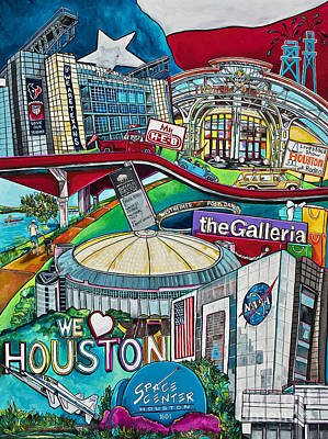 Poster featuring the painting Houston Montage Two by Patti Schermerhorn