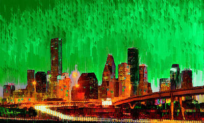 Houston Skyline 112 - Da Poster by Leonardo Digenio