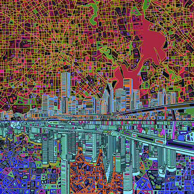 Houston Skyline Abstract 3 Poster by Bekim Art