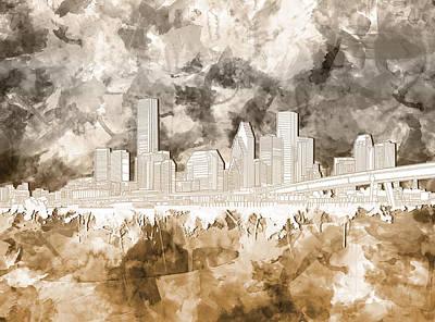 Houston Skyline Brush Strokes 2 Poster by Bekim Art