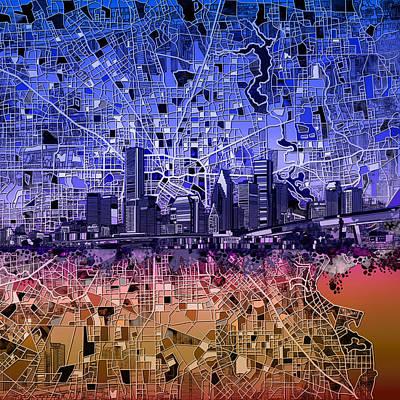 Houston Skyline Map 12 Poster