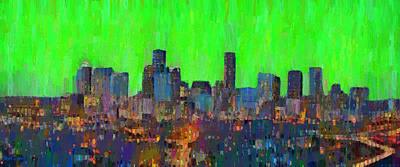 Houston Skyline Night 60 - Pa Poster by Leonardo Digenio