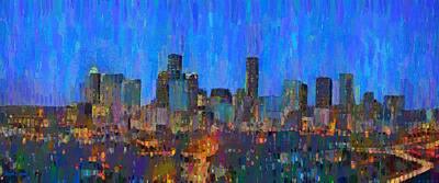 Houston Skyline Night 62 - Da Poster