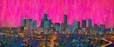 Houston Skyline Night 64 - Da Poster by Leonardo Digenio