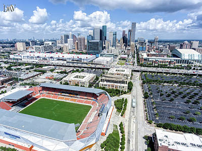 Houston Skyline With Sports Facilities. Poster