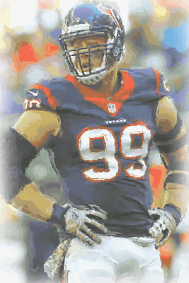 Houston Texans Jj Watt 2 Poster by Joe Hamilton